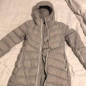 Adidas gray climawarm down parka jacket
